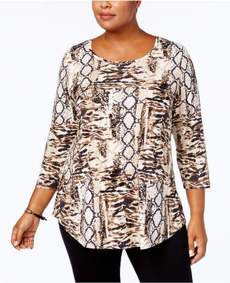JM Collection Plus Size Printed Top, Created for Macy's