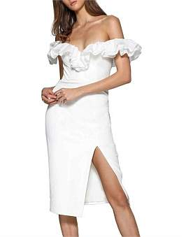 Elle Zeitoune Ruffled Neckline Side Split Dress