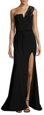 Nicole Bakti One-Shoulder Evening Gown