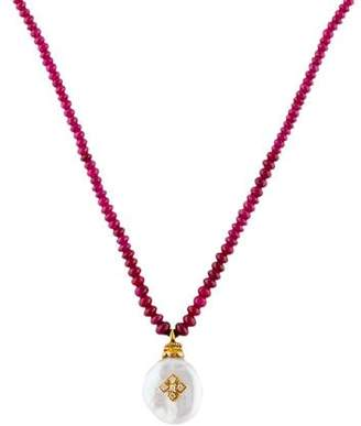Loree Rodkin 18K Pearl, Ruby & Diamond Pendant Necklace