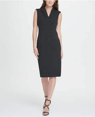 DKNY Seamed Compression Crepe Sheath Dress