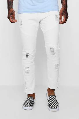 boohoo Dele Skinny Fit Biker Jeans With Zipped Cuff