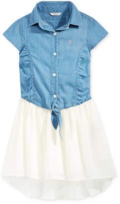 GUESS Denim Chiffon High-Low Dress, Big Girls