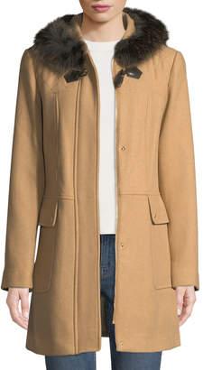 Ellen Tracy Fox-Fur Trimmed Hooded Toggle Coat