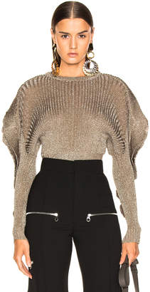 Chloé Ruffle Trim Ribbed Sweater in Boyish Khaki | FWRD