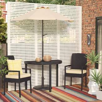 Andover Mills Sibley Balcony 3 Piece Bistro Set with Cushions and Umbrella Cushion