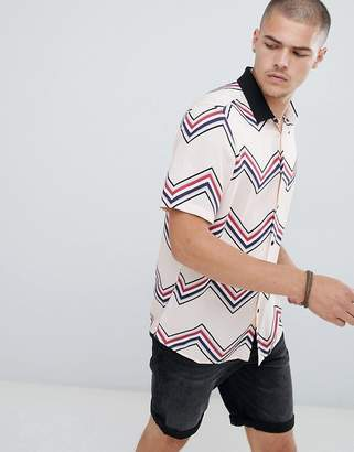Asos DESIGN regular fit chevron stripe with contrast rib collar