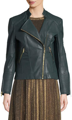 Iconic American Designer Moto-Quilted Faux-Leather Jacket
