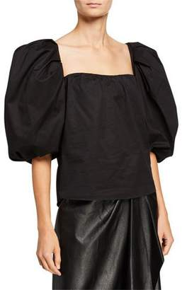 Johanna Ortiz Our Secret Poplin Puff-Sleeve Sweetheart Neck Shirt