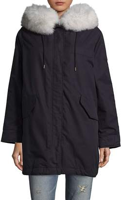 1 Madison Women's Fur Trim Hooded Coat