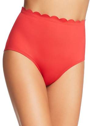 Kate Spade Scalloped High-Waist Bikini Bottom