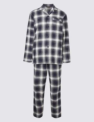 Marks and Spencer Pure Brushed Cotton Checked Pyjama Set