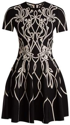Alexander McQueen Art Nouveau Intarsia Short Sleeved Dress - Womens - Black Pink