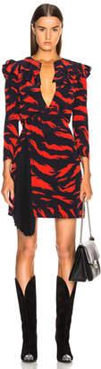 Givenchy Printed Ruffle Trim Mini Dress