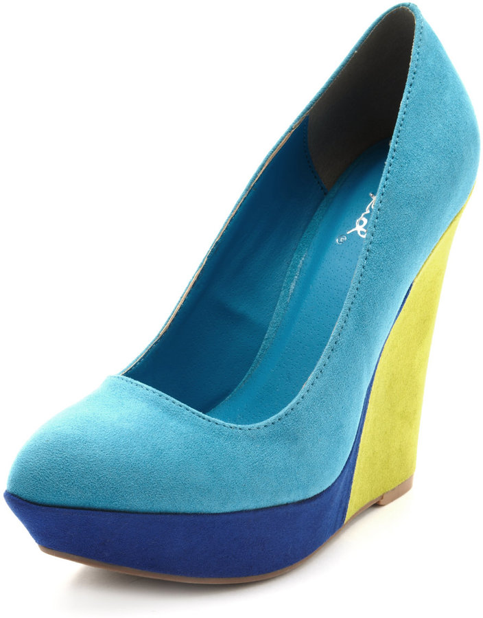 Pointed Color Block Sueded Wedge