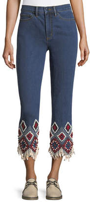 Tory Burch Mia Embroidered-Cuff Cropped Jeans