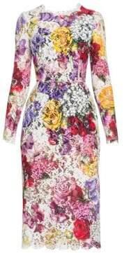 Dolce & Gabbana Dolce& Gabbana Dolce& Gabbana Women's Scalloped Floral Lace Sheath Dress - White Multi - Size 38 (2)