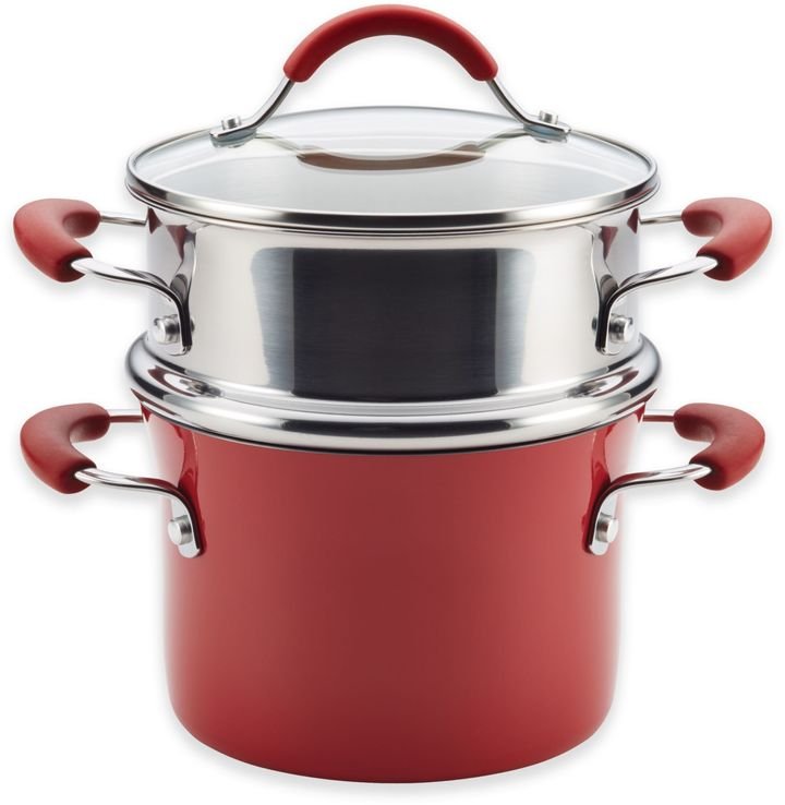 Rachael RayTM Cucina Hard Porcelain Enamel Nonstick 3 qt. Multi-Pot Steamer Set in Cranberry Red