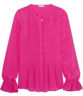 Oscar de la Renta Pleated Silk Blouse