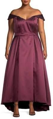 Xscape Evenings Plus Off-The-Shoulder Mikado High-Low Gown
