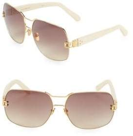 Linda Farrow Luxe Twin Bar 66MM Round Sunglasses