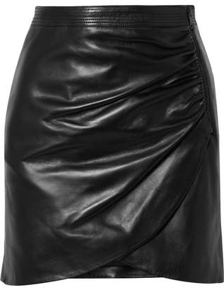 Givenchy Wrap-effect Leather Mini Skirt - Black