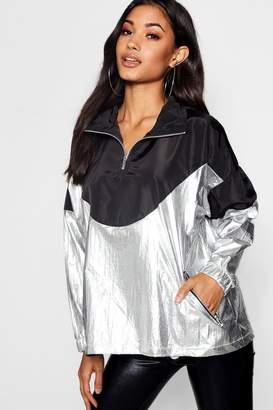 boohoo Metallic Panelled Windbreaker