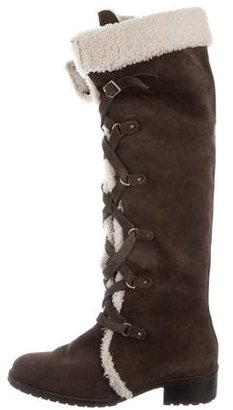 Delman Shearling-Trimmed Suede Boots $95 thestylecure.com