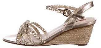 Prada Sport Leather Ankle Strap Wedges