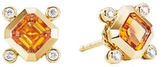 David Yurman 18K Yellow Gold Novella Stud Earrings with Madeira Citrine & Diamonds
