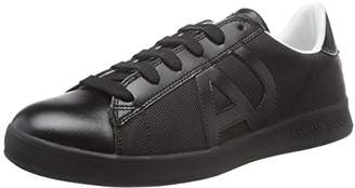 Armani Jeans Men's Canvas & Leather Low TOP Fashion Sneaker