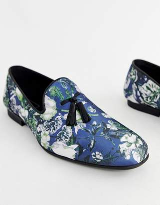 Asos Design DESIGN loafers in navy floral print with tassels