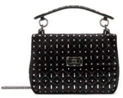 Valentino Rockstud Spike Velvet Shoulder Bag