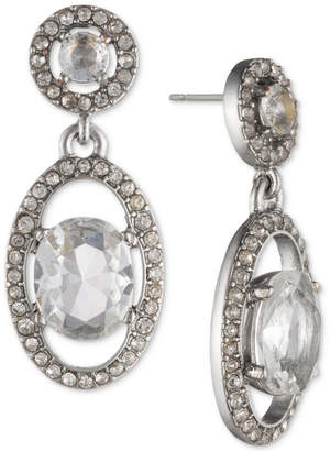 Jenny Packham Silver-Tone Crystal Orbital Drop Earrings