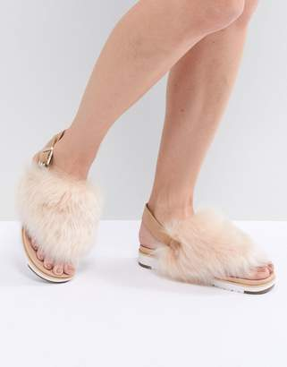 UGG Holly Beige Fluffy Beige Buckle Back Flat Sandals