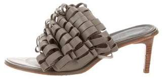 Tibi Ruffle-Trimmed Slide Sandals