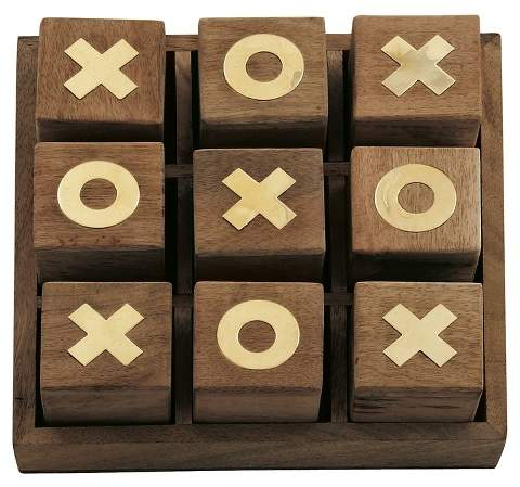 Olivia & May Updated Traditional Mahogany Wooden Tic-Tac-Toe Box (3