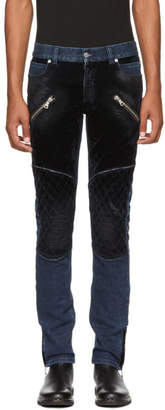 Balmain Blue Denim and Velvet Jeans