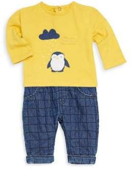 Catimini Baby Boy's Long-Sleeve Penguin Tee and Check Jeans Set