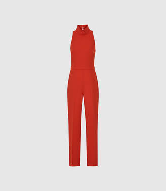 Reiss Dori - High Neck Open Back Jumpsuit in Red
