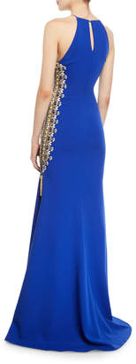 Badgley Mischka Beaded-Side Zipper Slit High-Neck Gown