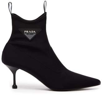 Prada Neoprene Ankle Boots - Womens - Black