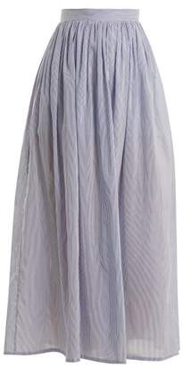 Thierry Colson Sissi Striped Cotton And Silk Blend Skirt - Womens - Navy Stripe