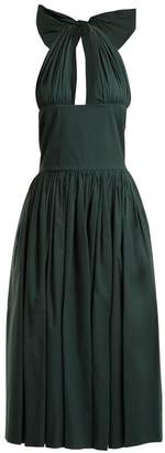 Rochas Tie Neck Stretch Cotton Dress - Womens - Dark Green