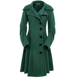 ForeMode Women's Jacket with Button Closure Long Trench Black Cloak Wool Coat(ShadedSpruce M)