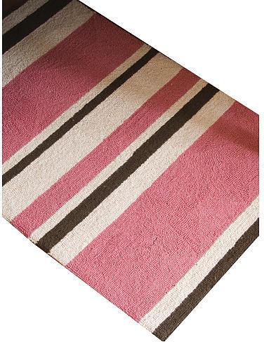 Glenna Jean Just Buggy Rug - Pink Stripe Hooked Wool