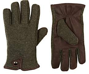 Barneys New York MEN'S LEATHER-TRIMMED VIRGIN WOOL-BLEND GLOVES
