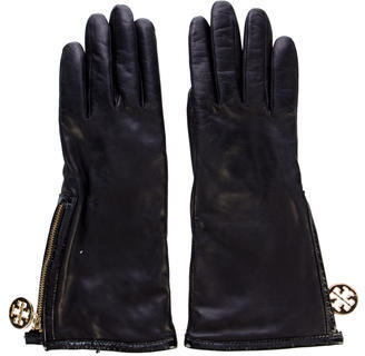Tory Burch Tory Burch Leather Zip Gloves