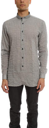 Naked & Famous Denim Long Shirt Crinkle Horizontal Stripes