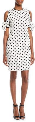 Black Halo Karyn Polka-Dot Cold-Shoulder Dress w/ Bow Details